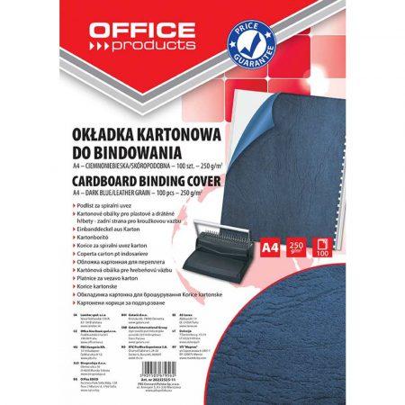 okładki do bindowania 4 alibiuro.pl Okładki do bindowania OFFICE PRODUCTS karton A4 250gsm skóropodobne 100szt. ciemnoniebieskie 15