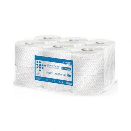 papier toaletowy celulozowy 4 alibiuro.pl Papier toaletowy celulozowy VELVET Professional Jumbo 2 warstwowy 800 listków 100m 12szt. biały 95