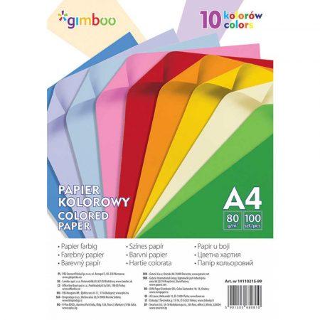 papiery kolorowe 4 alibiuro.pl Papier kolorowy GIMBOO A4 100 arkuszy 80gsm 10 kolorów neonowych 71