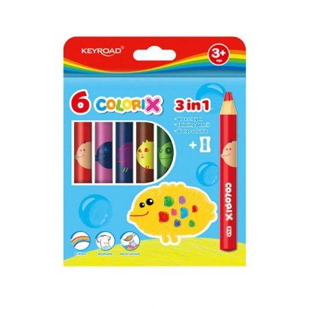 pastele 4 alibiuro.pl Kredki świecowe KEYROAD Colorix 3in1 6szt. jumbo z temperówką zawieszka mix kolorów 45
