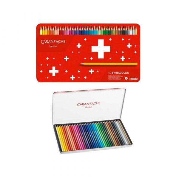 pastele 4 alibiuro.pl Kredki CARAN D Inch ACHE Swisscolor Aquarelle z efektrm akwareli sześciokątne 40szt. mix kolorów 4