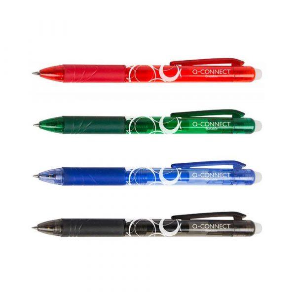 pióra żelowe 4 alibiuro.pl Długopis automatyczny Q CONNECT 1 0mm wymazywalny czerwony 14