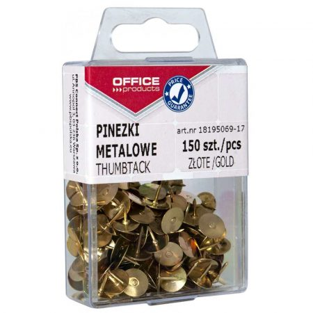 pinezki 4 alibiuro.pl Pinezki metalowe OFFICE PRODUCTS w pudełku 150 szt. złote 46