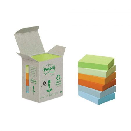 post ity 4 alibiuro.pl Bloczki ekologiczne POST IT 653 1GB 38x51mm 6x100 kart. mix kolorów 86