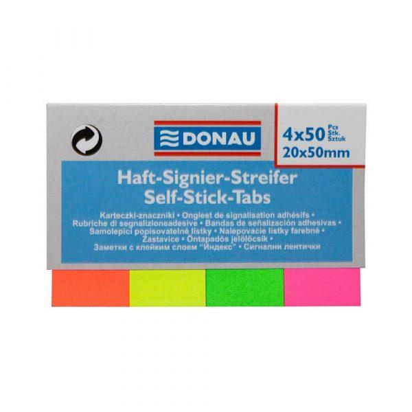 przekładka do segregatora 4 alibiuro.pl Zakładki indeksujące DONAU papier 20x50mm 4x50 kart. mix kolorów 0