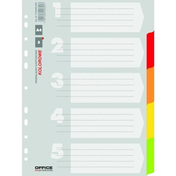 przekładki 4 alibiuro.pl Przekładki OFFICE PRODUCTS karton A4 227x297mm 5 kart mix kolorów 80