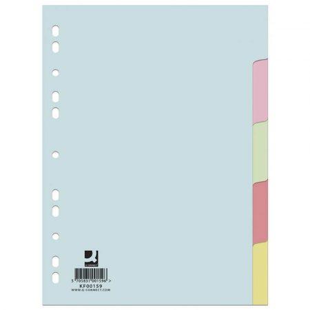 przekładki 4 alibiuro.pl Przekładki Q CONNECT karton A4 223x297mm 5 kart mix kolorów 72
