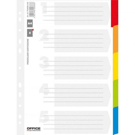 przekładki archiwizacyjne 4 alibiuro.pl Przekładki OFFICE PRODUCTS karton A4 227x297mm 5 kart lam. indeks mix kolorów 10