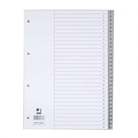 przekładki archiwizacyjne 4 alibiuro.pl Przekładki Q CONNECT PP A4 230x297mm 1 31 31 kart szare 31