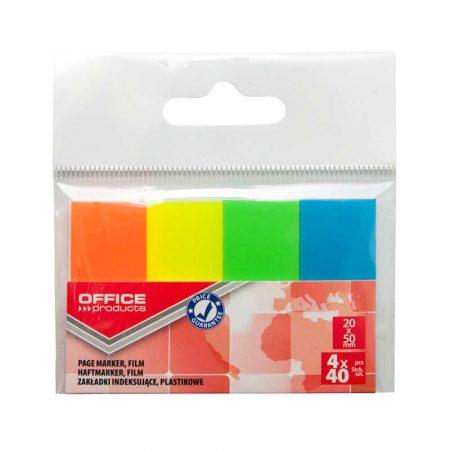 przekładki do segregatorów 4 alibiuro.pl Zakładki indeksujące OFFICE PRODUCTS PP 20x50mm 4x40 kart. zawieszka mix kolorów neon 65
