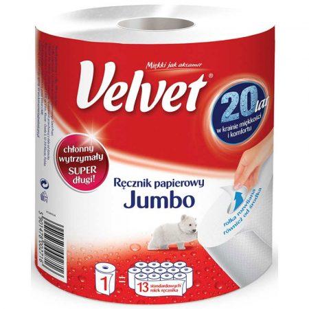 ręcznik papierowy 4 alibiuro.pl Ręcznik w roli celulozowy VELVET Jumbo 2 warstwowy 500 listków biały 19