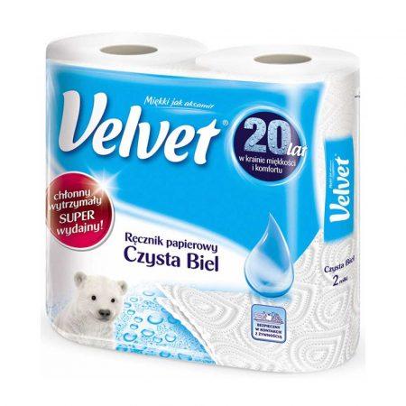 ręczniki papierowe 4 alibiuro.pl Ręczniki w roli celulozowe VELVET Czysta Biel 2 warstwowe 54 listków 2szt. białe 2