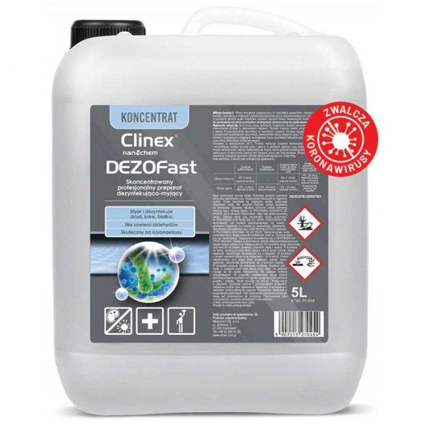 środki czystości 4 alibiuro.pl Profesjonalny koncentrat do mycia i dezynfekcji CLINEX Dezofast 5L bakteriobójczy wirusobójczy grzybobójczy skoncentrowany 2