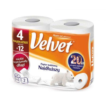 środki czystości i higiena 4 alibiuro.pl Papier toaletowy celulozowy VELVET Najdłuższy 2 warstwowy 486 listków 4szt. biały 38