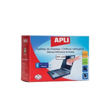 środki czyszczące do komputerów 4 alibiuro.pl Chusteczki do czyszczenia ekranów TFT LCD APLI 2x20szt. 97
