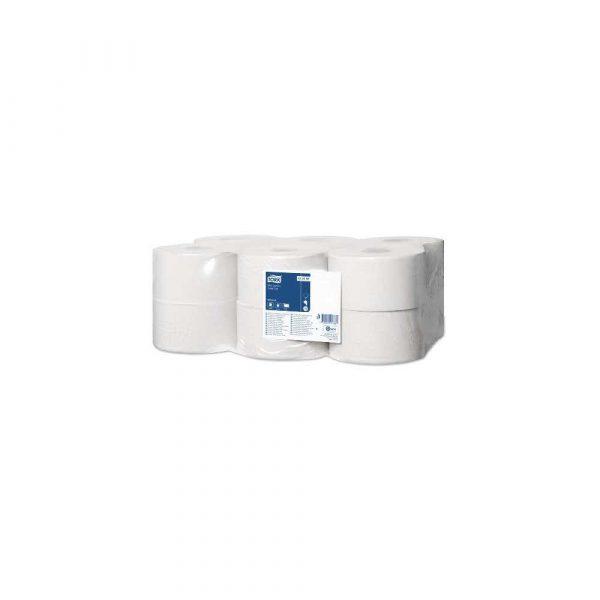 sprzęt biurowy 1 alibiuro.pl Papier toaletowy Mini Jumbo roll 2 warstwowy biały 12 rolek 120231 TORK 66