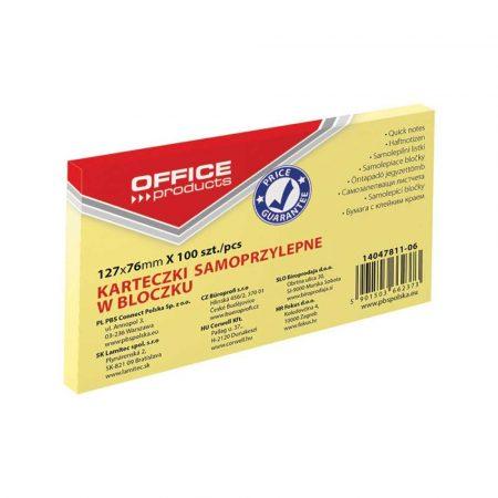 sprzęt biurowy 4 alibiuro.pl Bloczek samoprzylepny OFFICE PRODUCTS 127x76mm 1x100 kart. pastel jaznożółty 31
