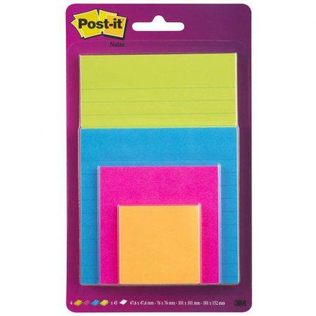 sprzęt biurowy 4 alibiuro.pl Bloczek samoprzylepny POST IT Super Sticky 4622 SSEU mix rozmiarów 4x45 kart. zawieszka mix kolorów 66