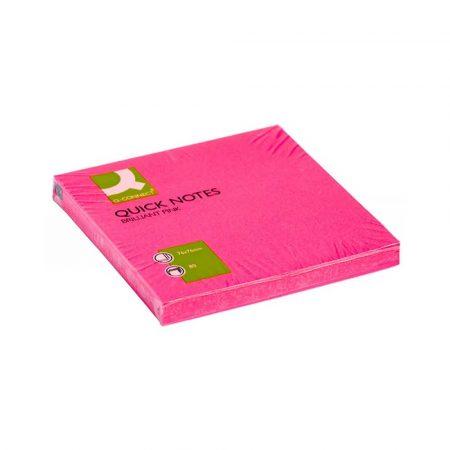 sprzęt biurowy 4 alibiuro.pl Bloczek samoprzylepny Q CONNECT Brilliant 76x76mm 1x80 kart. różowy 16