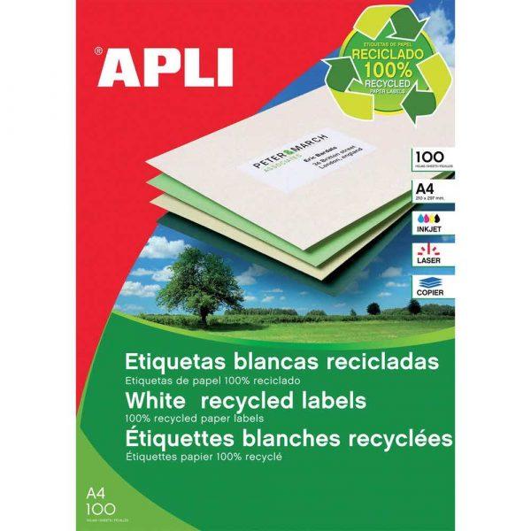 sprzęt biurowy 4 alibiuro.pl Etykiety ekologiczne APLI 105x148mm prostokątne białe 80