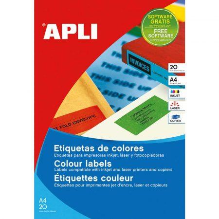 sprzęt biurowy 4 alibiuro.pl Etykiety kolorowe APLI 210x297mm prostokątne zielone 20 ark. 81
