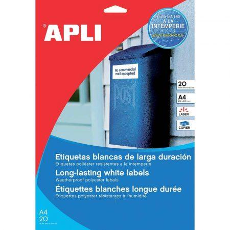 sprzęt biurowy 4 alibiuro.pl Etykiety poliestrowe APLI 105x148mm prostokątne białe 20 ark. 27