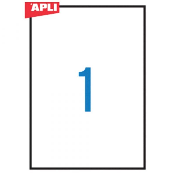 sprzęt biurowy 4 alibiuro.pl Etykiety poliestrowe APLI 210x297mm prostokątne białe 20 ark. 42