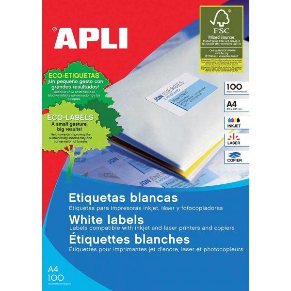 sprzęt biurowy 4 alibiuro.pl Etykiety uniwersalne APLI 105x29mm prostokątne białe 100 ark. 97