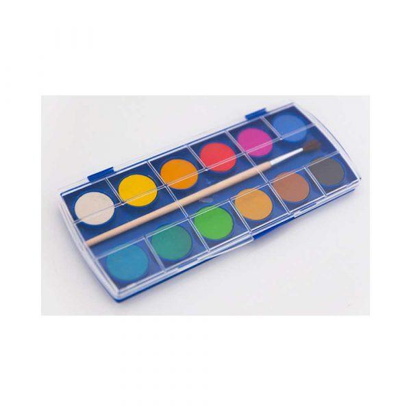 sprzęt biurowy 4 alibiuro.pl Farby akwarelowe KEYROAD zawieszka z pędzelkiem 12 kolorów 65