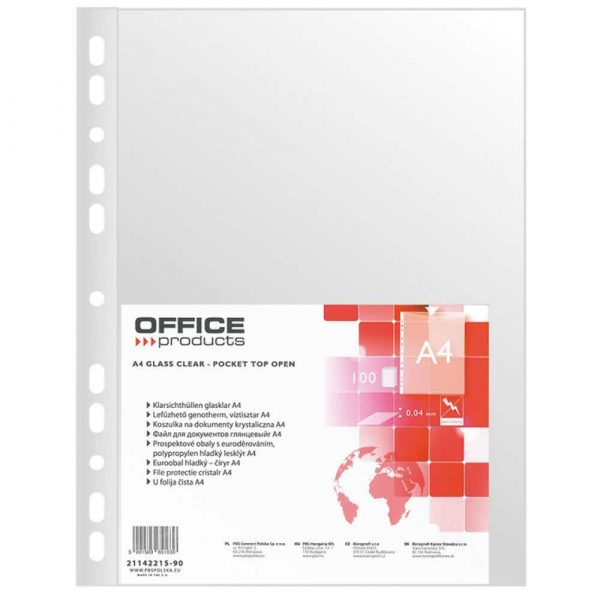 sprzęt biurowy 4 alibiuro.pl Koszulki na dokumenty OFFICE PRODUCTS PP A4 krystal 40mikr. 100szt. 70