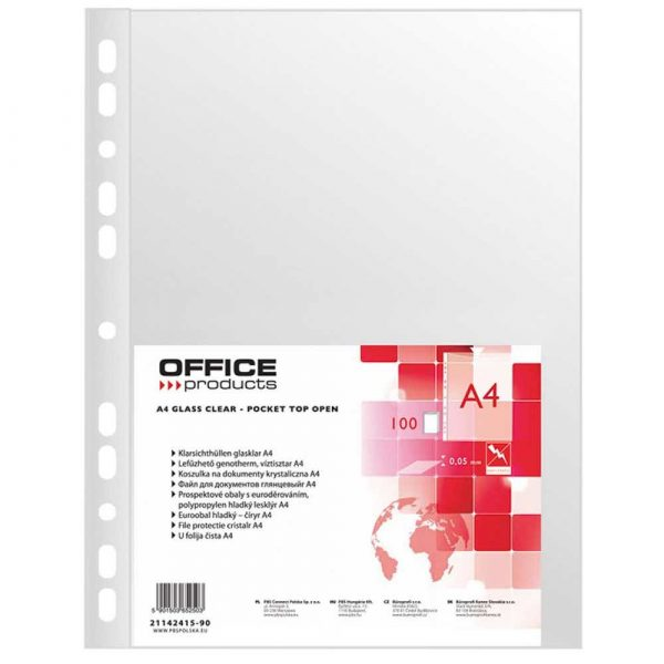 sprzęt biurowy 4 alibiuro.pl Koszulki na dokumenty OFFICE PRODUCTS PP A4 krystal 50mikr. 100szt. 84