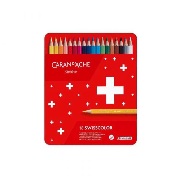 sprzęt biurowy 4 alibiuro.pl Kredki CARAN D Inch ACHE Swisscolor Aquarelle z efektrm akwareli sześciokątne 18szt. mix kolorów 86