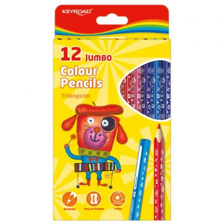 sprzęt biurowy 4 alibiuro.pl Kredki ołówkowe KEYROAD Jumbo trójkątne 12szt. mix kolorów 0