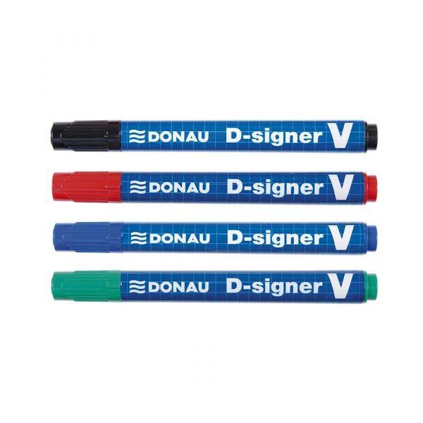 sprzęt biurowy 4 alibiuro.pl Marker permanentny DONAU D Signer V ścięty 1 4mm linia czerwony 23