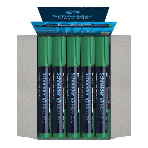 sprzęt biurowy 4 alibiuro.pl Marker permanentny SCHNEIDER Maxx 250 ścięty 2 7mm zielony 13