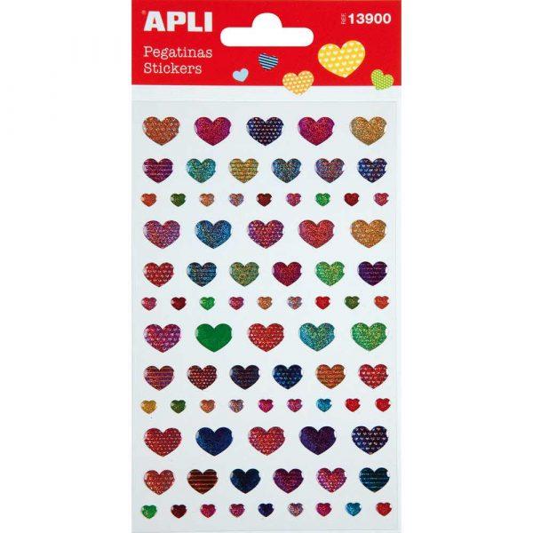 sprzęt biurowy 4 alibiuro.pl Naklejki APLI Hearts z brokatem mix kolorów 52