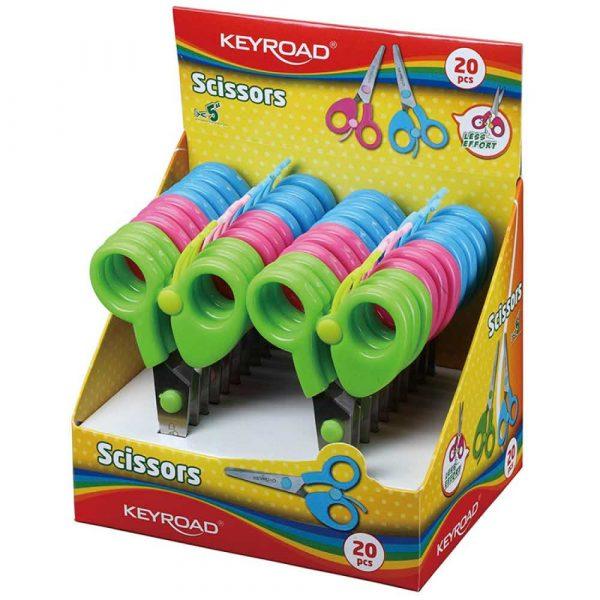 sprzęt biurowy 4 alibiuro.pl Nożyczki szkolne KEYROAD 12cm z blokadą pakowane na displayu mix kolorów 3