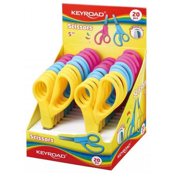 sprzęt biurowy 4 alibiuro.pl Nożyczki szkolne KEYROAD 12cm zaokrąglone pakowane na displayu mix kolorów 92