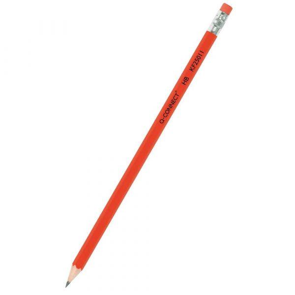 sprzęt biurowy 4 alibiuro.pl Ołówek drewniany z gumką Q CONNECT HB lakierowany czerwony 75