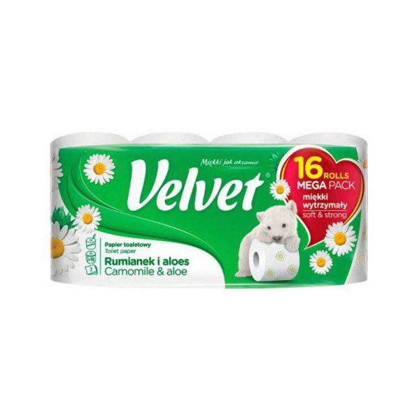 sprzęt biurowy 4 alibiuro.pl Papier Toaletowy celulozowy VELVET Rumianek i Aloes 3 warstwowy 16szt. biały 44