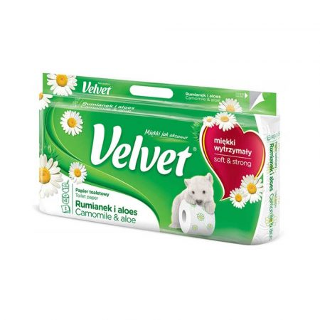 sprzęt biurowy 4 alibiuro.pl Papier Toaletowy celulozowy VELVET Rumianek i Aloes 3 warstwowy 8szt. biały 7