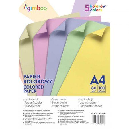 sprzęt biurowy 4 alibiuro.pl Papier kolorowy GIMBOO A4 100 arkuszy 80gsm 5 kolorów pastelowych 48
