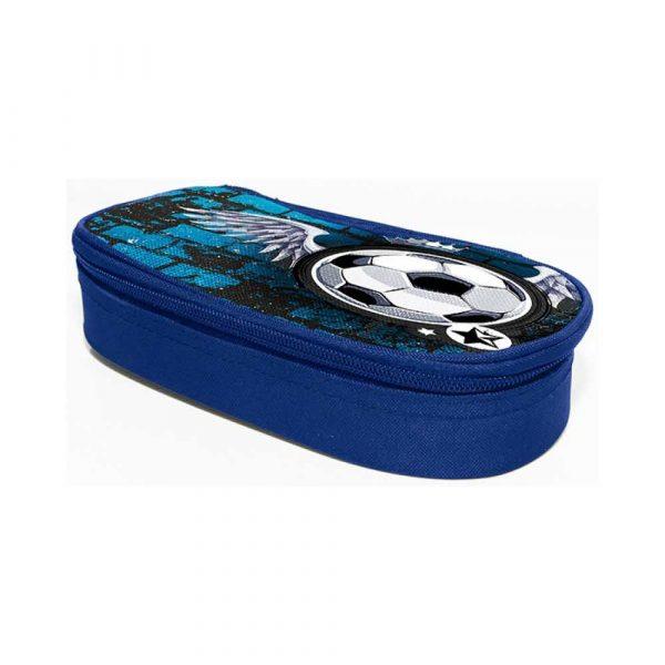 sprzęt biurowy 4 alibiuro.pl Piórnik kosmetyczka DONAU Soccer Style bez wyposażenia owalny 20x7 4x4cm niebieski 55