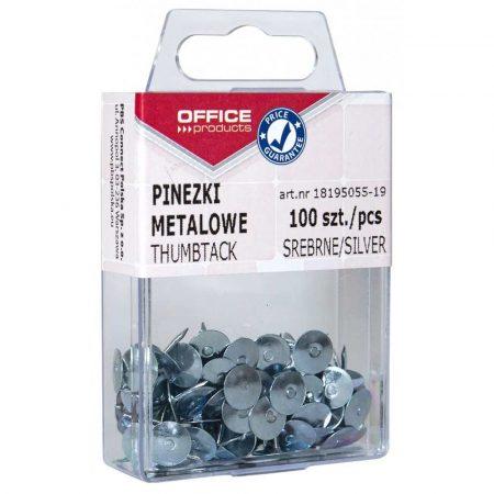 sprzęt biurowy 4 alibiuro.pl Pinezki metalowe OFFICE PRODUCTS w pudełku 100szt. srebrne 79