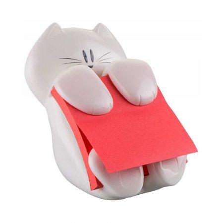 sprzęt biurowy 4 alibiuro.pl Podajnik do bloczków samoprzylepnych POST IT Kotek CAT 330 biały w zestawie 1 bloczek Super Sticky Z Notes 28