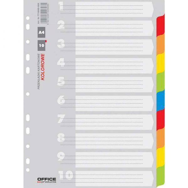 sprzęt biurowy 4 alibiuro.pl Przekładki OFFICE PRODUCTS karton A4 227x297mm 10 kart mix kolorów 64