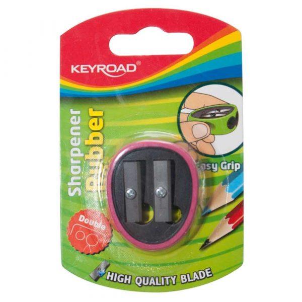 sprzęt biurowy 4 alibiuro.pl Temperówka KEYROAD plastikowa podwójna z gumką blister mix kolorów 30
