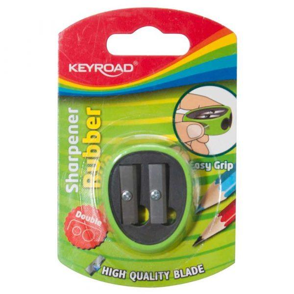 sprzęt biurowy 4 alibiuro.pl Temperówka KEYROAD plastikowa podwójna z gumką blister mix kolorów 92
