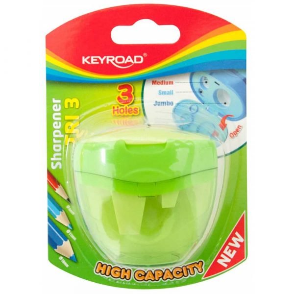 sprzęt biurowy 4 alibiuro.pl Temperówka KEYROAD plastikowa potrójna blister mix kolorów 99