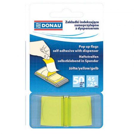 sprzęt biurowy 4 alibiuro.pl Zakładki indeksujące DONAU PP 25x45mm 1x50 kart. transparentne żółte 22